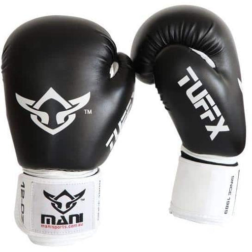 Mani Black & White TUFFX Boxing Gloves 10oz 12oz 16oz Sparring Training MBG-113 - MMA DIRECT