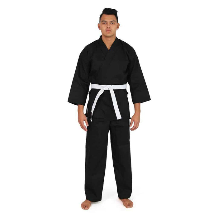 SMAI Karate Uniform 8oz Student Gi (Black) Double Stitched + White Belt - MMA DIRECT