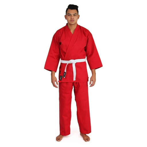SMAI Karate Uniform 8oz Student Gi (Red) Double Stitched + White Belt - MMA DIRECT