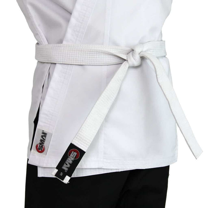 SMAI Karate Uniform 8oz Student Gi (Salt & Pepper) Double Stitched + White Belt - MMA DIRECT