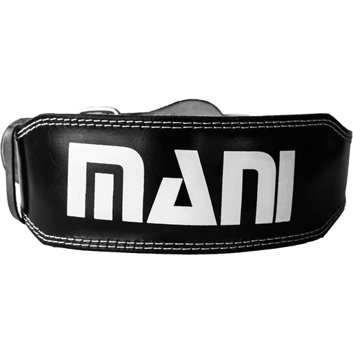 "MANI Leather 4"" Weight Lifting Gym Exercise Belt Rack Support [S/M/L/XL] - MMA DIRECT"