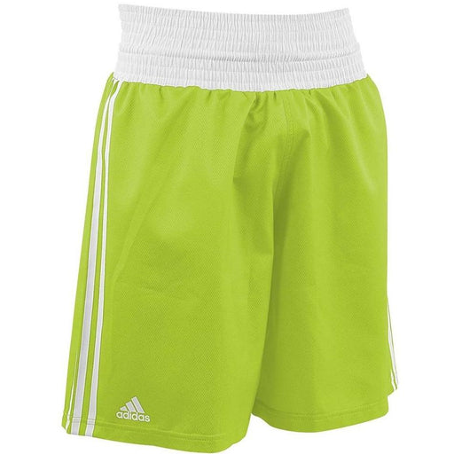 Adidas Boxing Shorts Fluro Green/White Lightweight Fightwear / Gym Apparel - MMA DIRECT