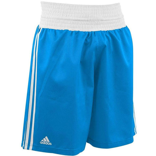 Adidas Boxing Shorts Metallic Blue/White Lightweight Fightwear / Gym Apparel - MMA DIRECT