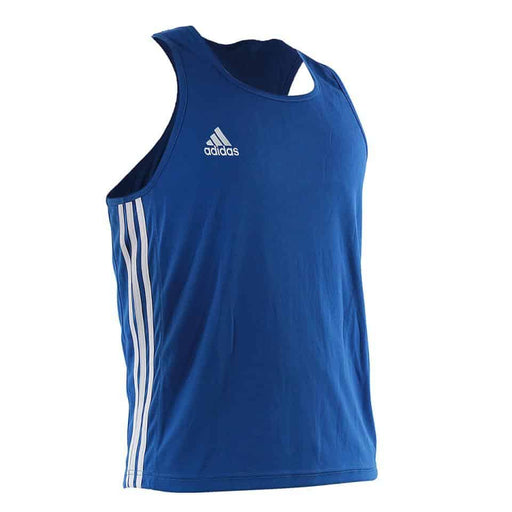 Adidas AIBA Approved Singlet Top Blue/Red 100% Lightweight Polyester Athlete Cut - MMA DIRECT