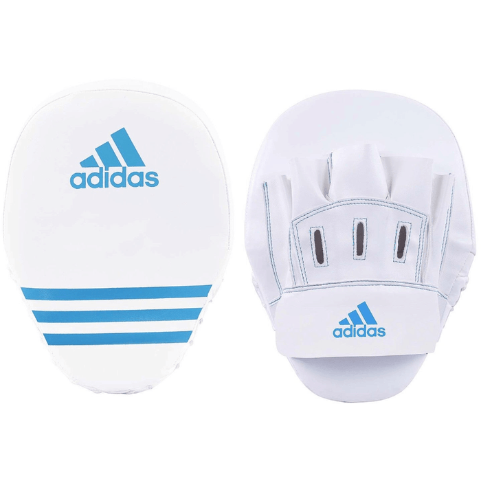 Adidas Short Curved Focus Mitts Boxing Punch Pads Blue White - MMA DIRECT