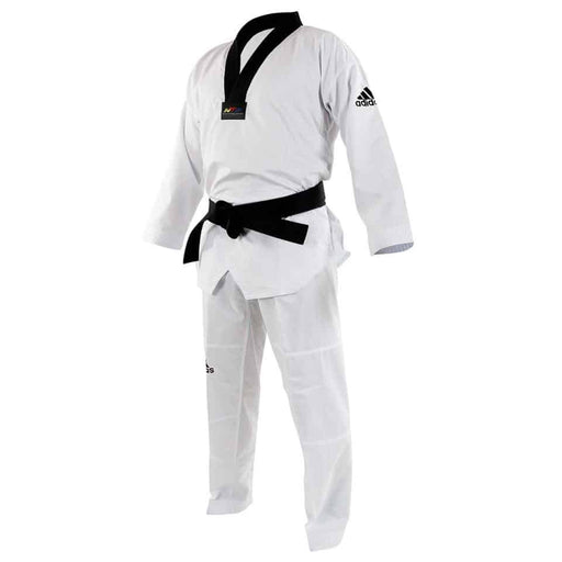 Adidas Taekwondo Contest Gi Uniform Dobok White & Black V Neck WT Approved - MMA DIRECT