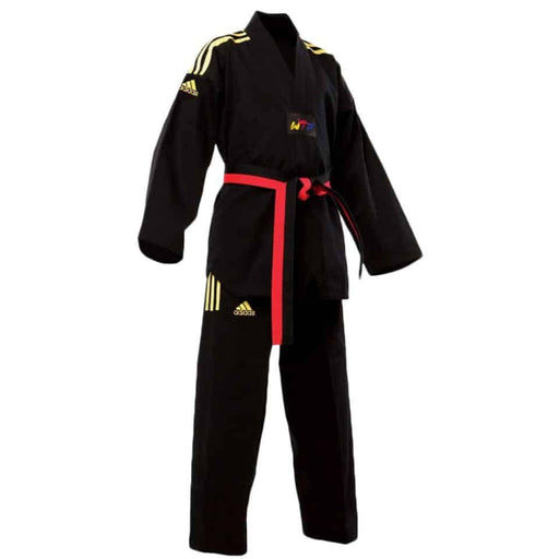 Adidas Junior Taekwondo Dobok Uniform Gi Black Blue Red - MMA DIRECT