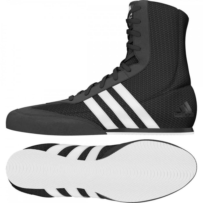 Adidas Box Hog 2 Boxing Shoes Boots Black & White Lace Up - MMA DIRECT