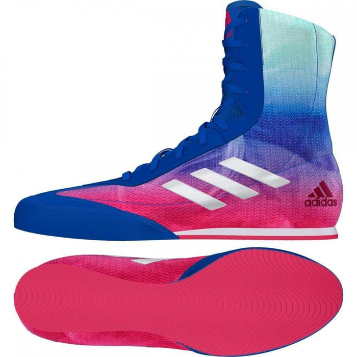 Adidas Box Hog Plus Boxing Shoes Boots Blue & Pink Lace Up - MMA DIRECT
