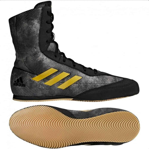Adidas Box Hog Plus Boxing Shoes Boots Black & Gold Lace Up - MMA DIRECT