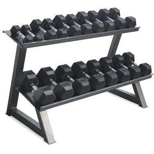 Morgan Rubber Hex Dumbell Weights Deluxe Rack Gym Equipment Commercial Grade - MMA DIRECT