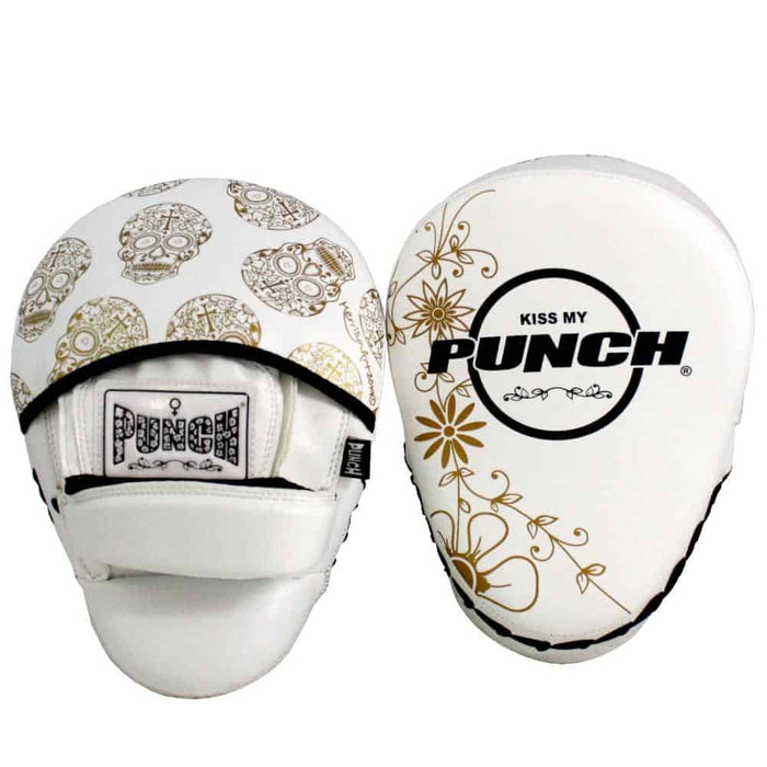 Punch Womens Focus Pads Skull Art White Limited Edition - MMA DIRECT