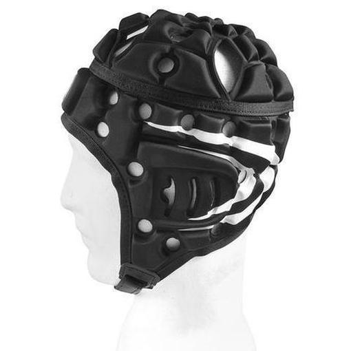 Madison Air Flo Headguard - Black with White Stripes Rugby League NRL - Sports Grade