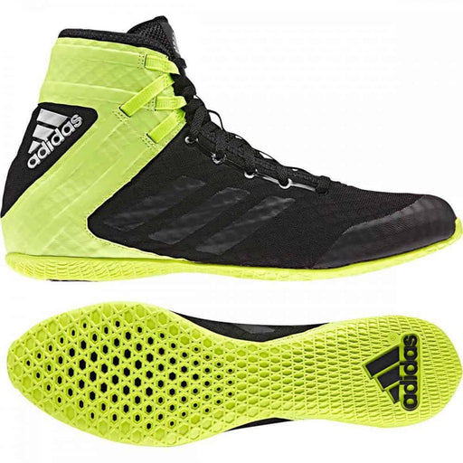 Adidas Speedex Boxing Shoes Boots Black & Yellow Lace Up - MMA DIRECT