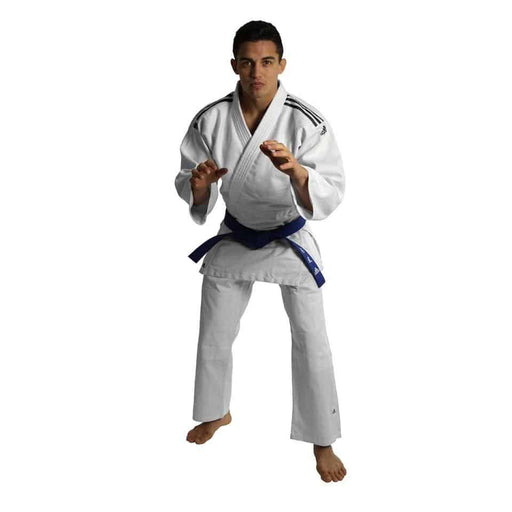Adidas J350 Junior Kids Judo Gi Uniform White & Black Stripes + Belt - MMA DIRECT