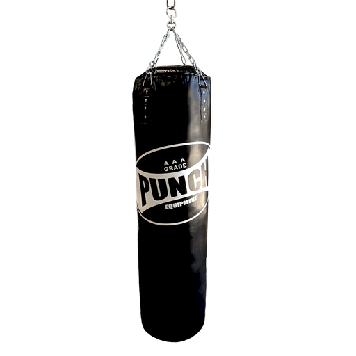 Punch 43cm X 150cm Alpha Boxing Bag (Refill Pocket) Black / White - MMA DIRECT