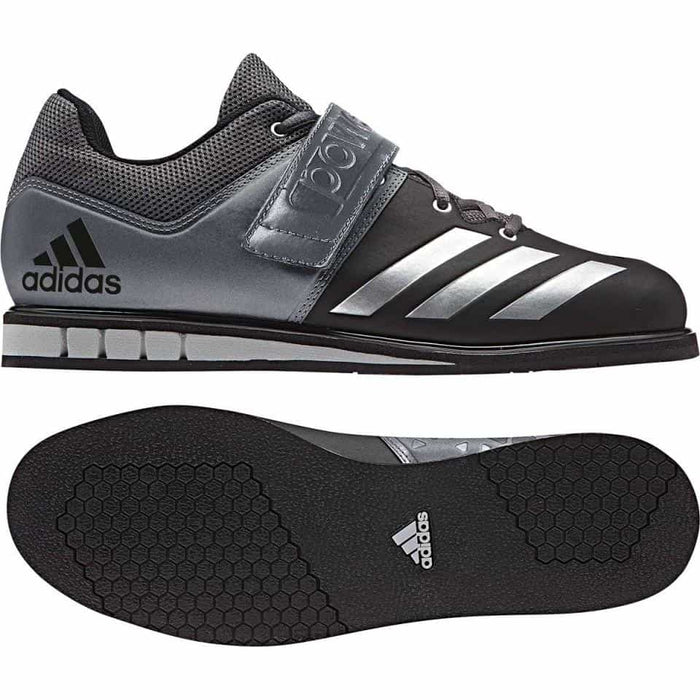 Adidas Powerlift 3 Weightlifting Shoes Black/Silver Support Lace + Strap - MMA DIRECT