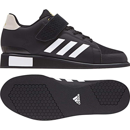 Adidas POWERPERFECT 3 III Weight Lifting Shoe Black/White/Gold Flexible Stable - MMA DIRECT