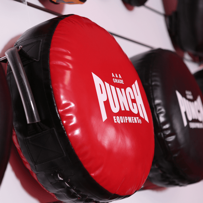 Deluxe Red Punch Round Boxing Shield 3.5kg Custom Handles AAA Rated - MMA DIRECT