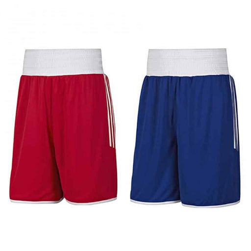 Adidas Reversible AIBA Approved Shorts Blue/Red 100% Lightweight Polyester - MMA DIRECT