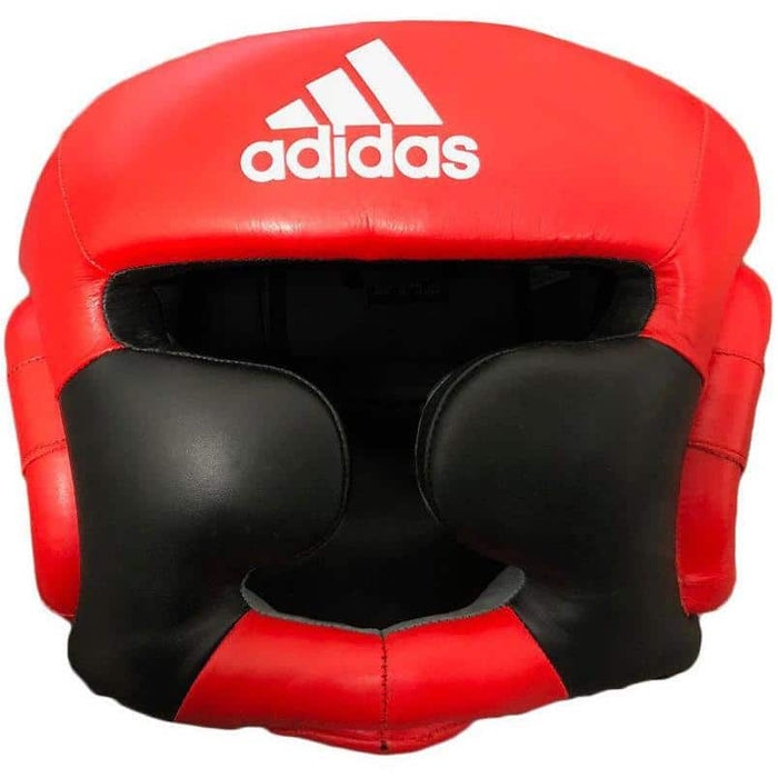 Adidas Leather Super Pro Training Full Face Head Gear Guard Black Red - MMA DIRECT