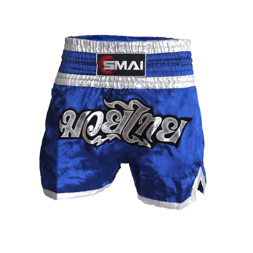 SMAI - Muay Thai Shorts V2 - Blue / Silver - MMA DIRECT