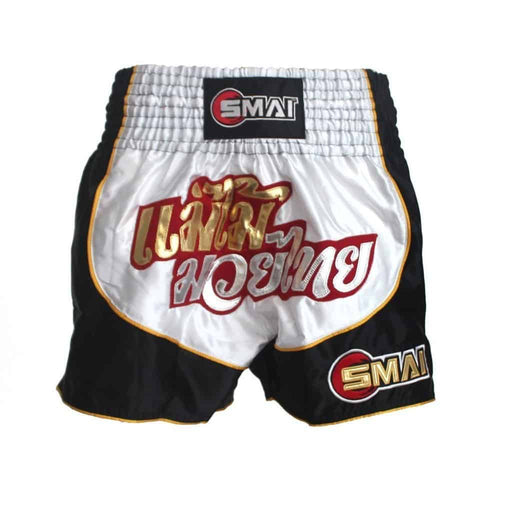 SMAI - Muay Thai Shorts v5 - Black/White - MMA DIRECT