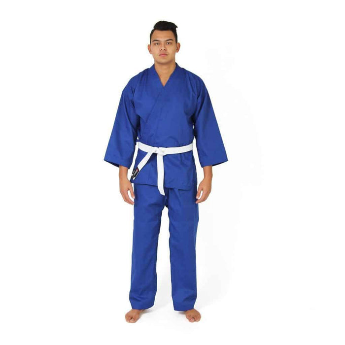 SMAI Karate Uniform 8oz Student Gi (Blue) Double Stitched + White Belt - MMA DIRECT