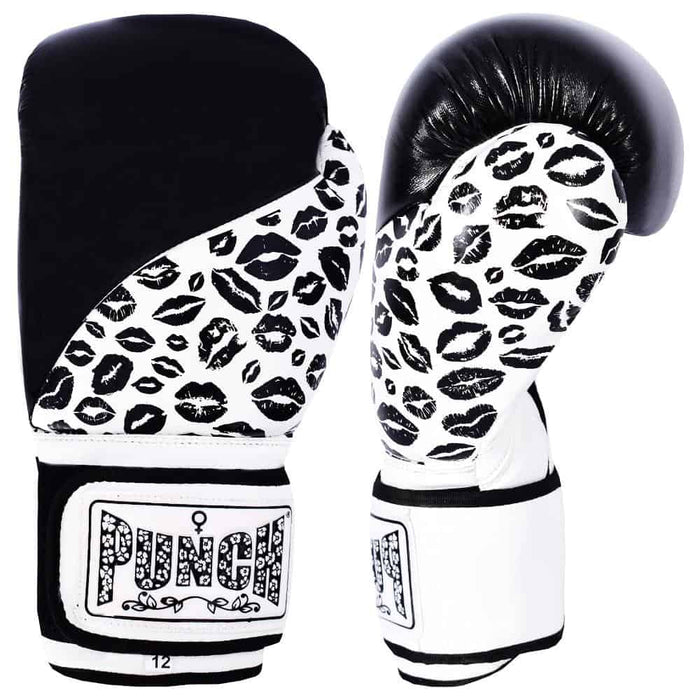 Punch Womens Boxing Gloves Lip Art Black Limited Edition - MMA DIRECT