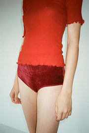 Baji Burgundy Velour High Waist Bell