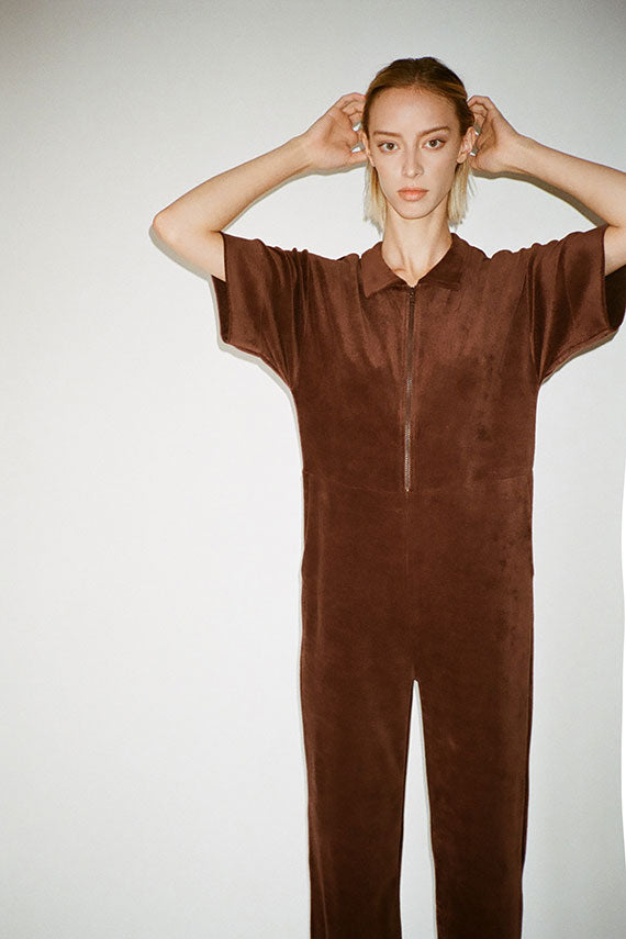 Turnip Brown Velour Suru Jumpsuit