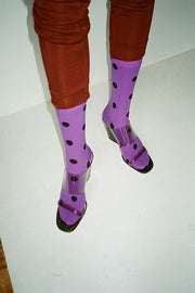 Deep Lavender Dot Sock