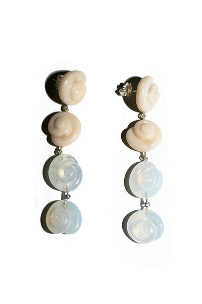Silver Nautilus Long Drop Earrings