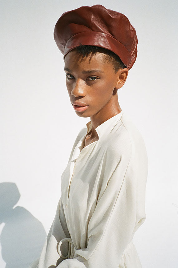Cognac Leather Beret
