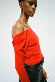 Red V-Neck Raglan Sweater