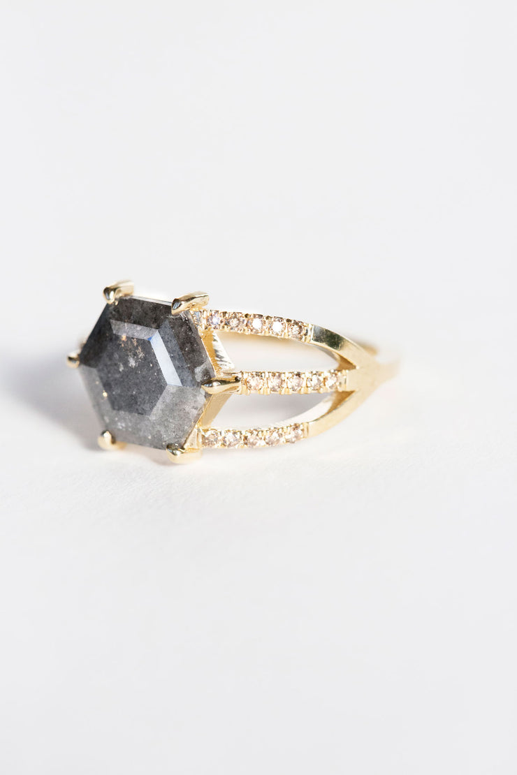 Diamond Slice Half Cage Ring