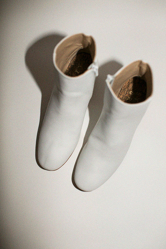 White Low Ankle Boots