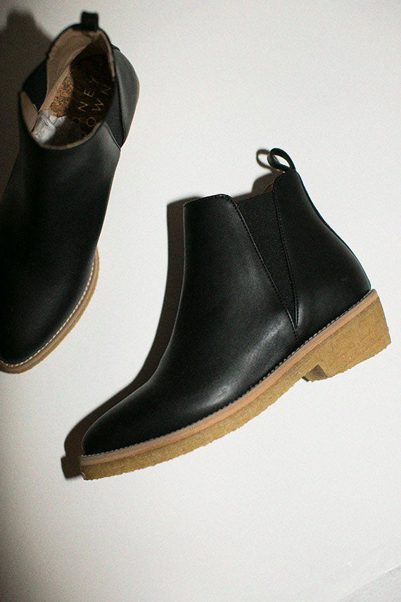 Black Crepe Ankle Boots