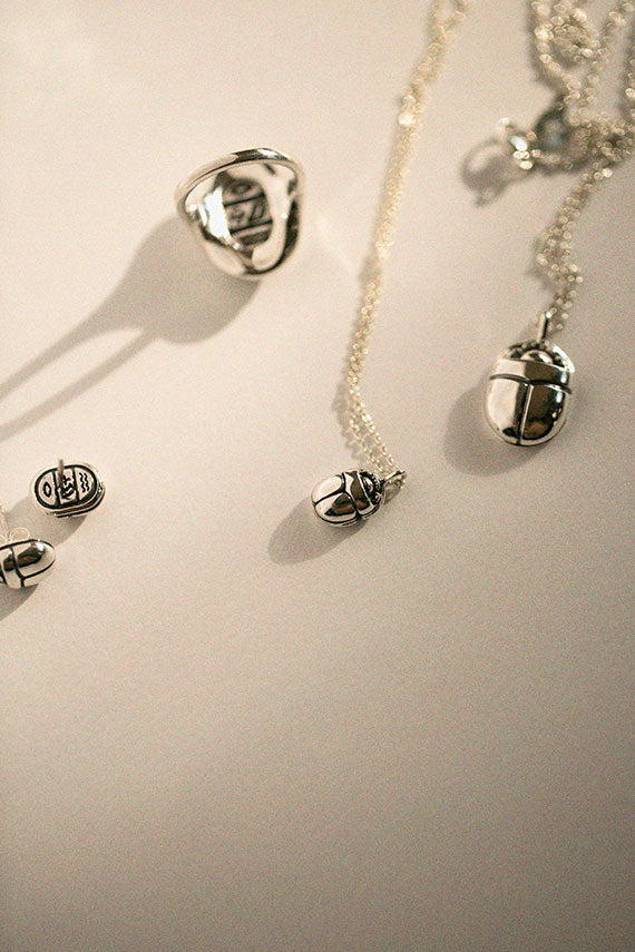 Small Silver Scarab Necklace