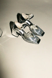 Silver 70's Strappy Heel