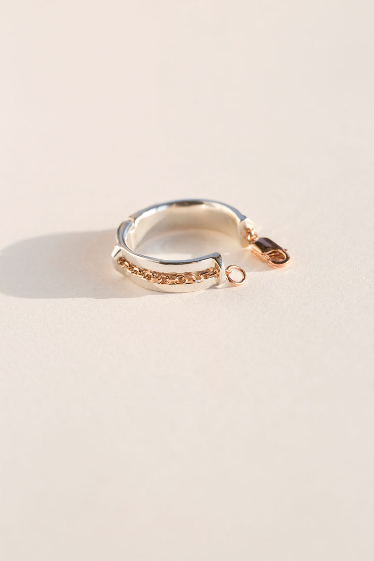 Silver Rose Caveat Ring