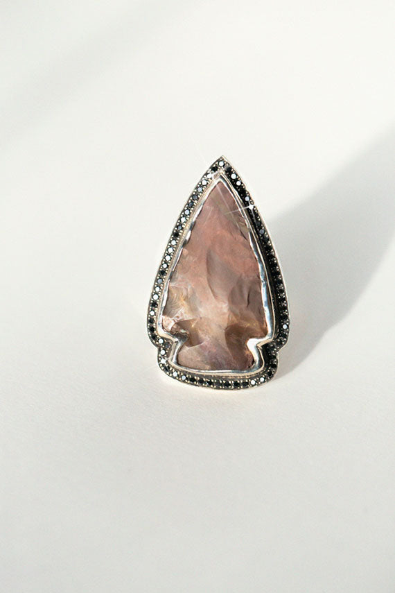 Jasper and Diamond Arrowhead Ring