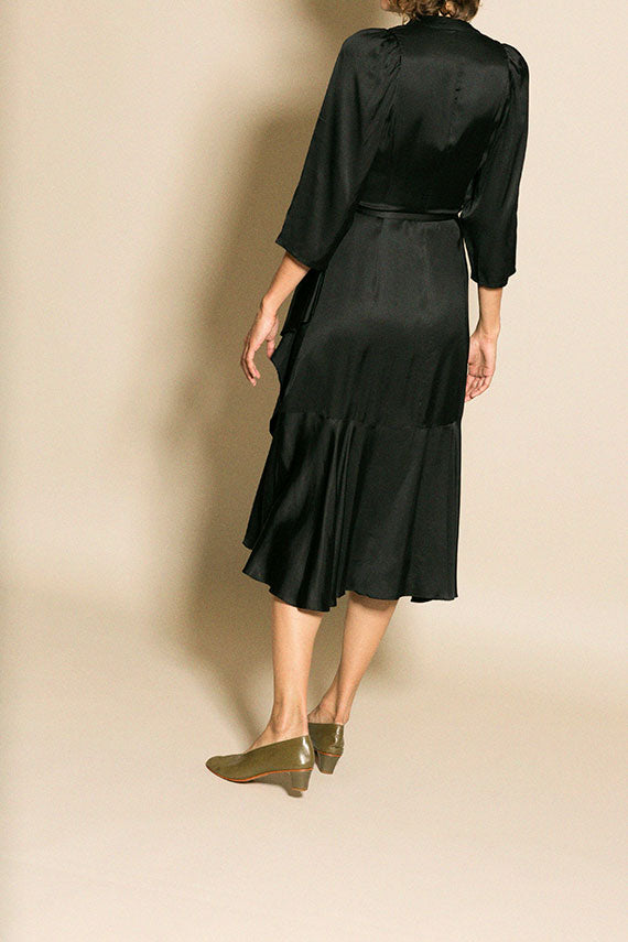 Black Miliana Satin Dress