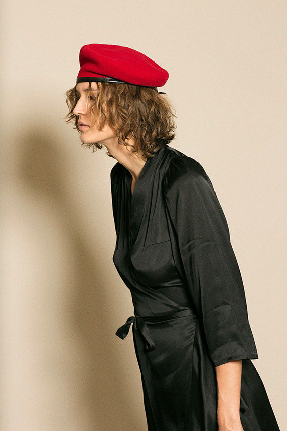Red Leather Trimmed Crest Beret