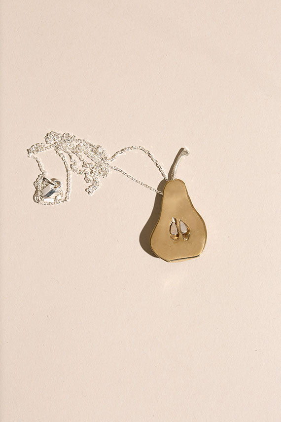 Brass Pear Necklace