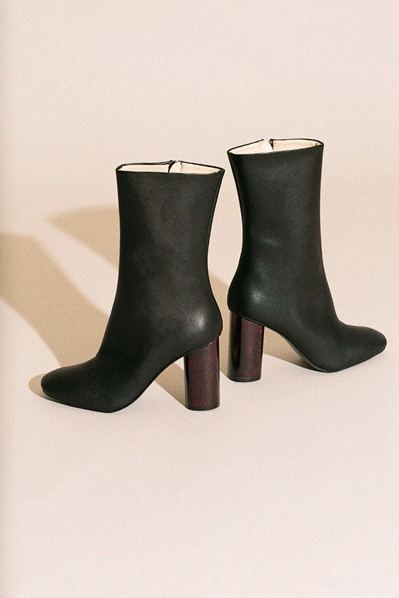 Vegan Black Mid-Calf Boot