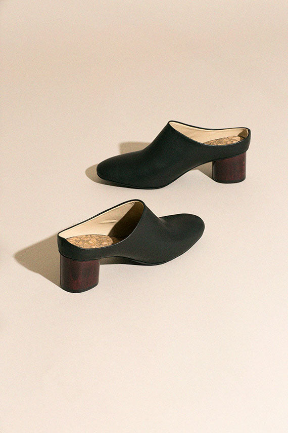Vegan Black Low Mule