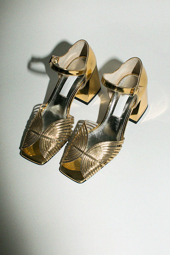 Gold 70's Strappy Heel