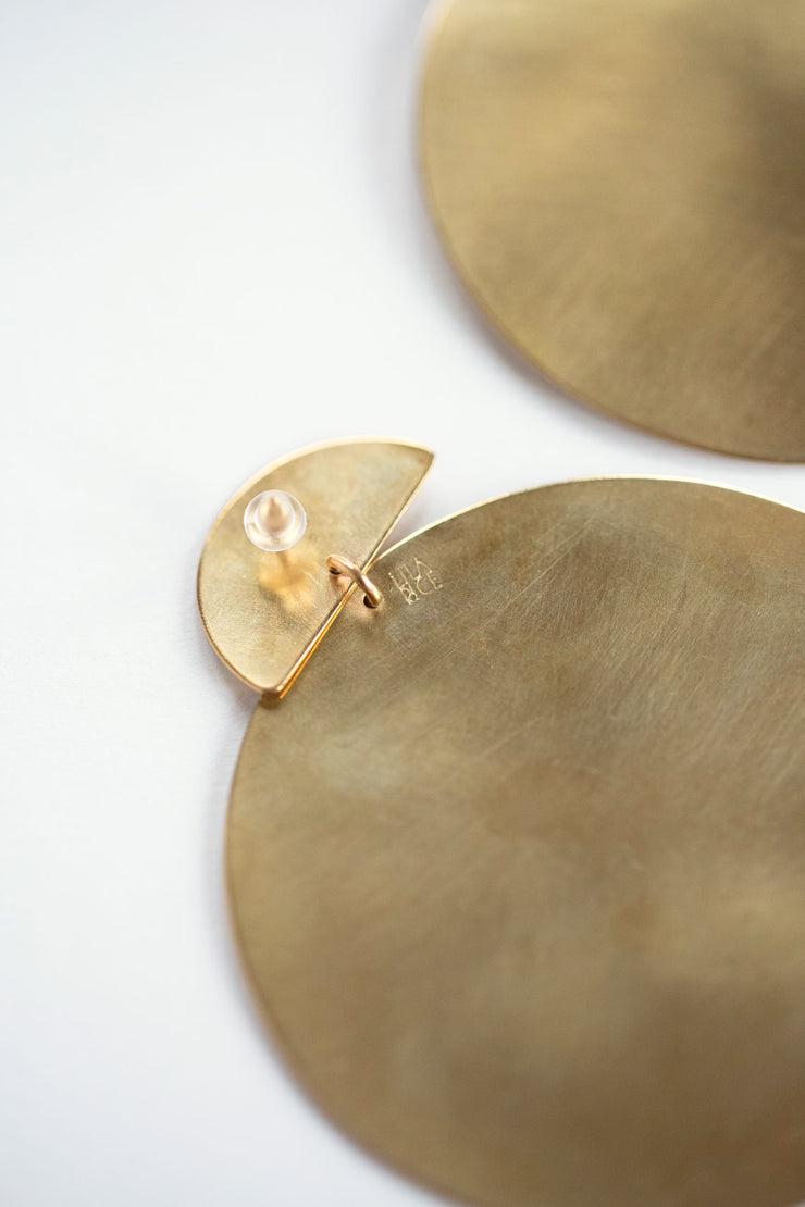Brass Disc Nina Earrings