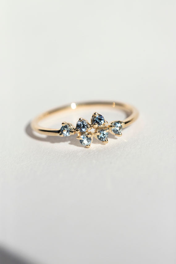 Mirrored Points Sapphire Ring
